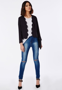 Laurie - Scalloped Cropped Blazer