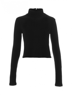 Alice + Olivia  - Long Sleeve Mockneck Knit Crop Top