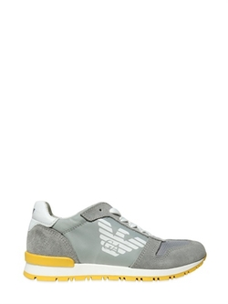 Armani Junior - Nylon Canvas & Suede Running Sneakers