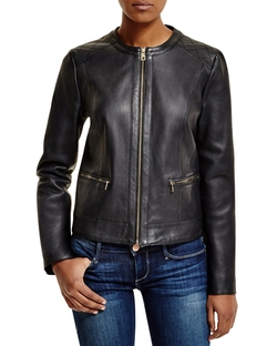 Cole Haan - Collarless Leather Jacket
