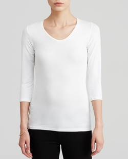 Majestic - Three Quarter Sleeves V-Neck Top