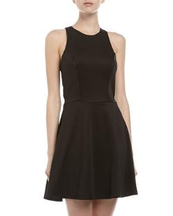 Casual Couture  - Fit-and-Flare Racer Back Dress, Black