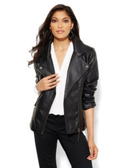 New York & Company - Quilted Faux-Leather Moto Jacket