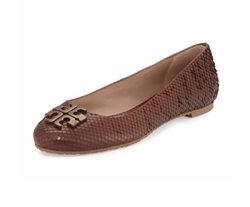 Tory Burch  - Lowell 2 Snake-Embossed Ballerina Flat Shoes