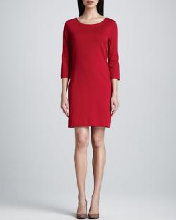 Joan Vass  - Three-Quarter-Sleeve Ponte Shift Dress