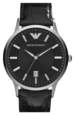 Emporio Armani - Slim Leather Strap Watch