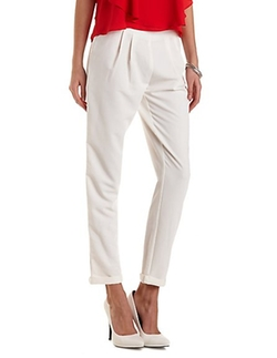 Charlotte Russe - Cuffed High-Waisted Trousers