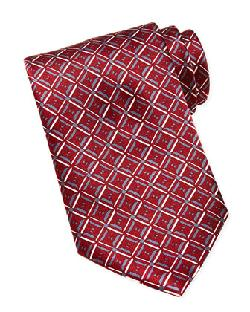 Brioni  - Geometric-Diamond-Print Silk Tie, Red