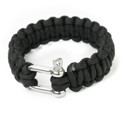 Blingworld - Black Paracord Survival Bracelets Stainless Shackle