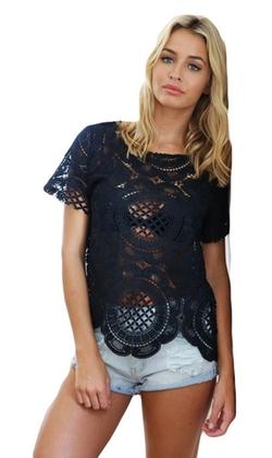 Bluetime - Lace Crochet Scallop Top