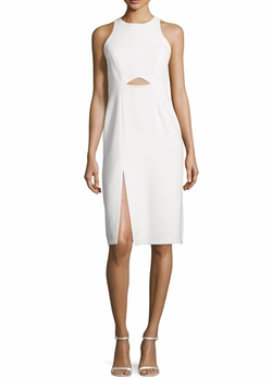 Halston Heritage - High-Neck Fitted Cutout Dress