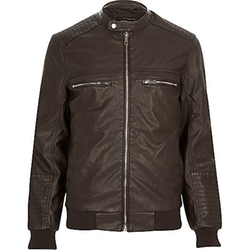 River Island - Dark Brown Leather-Look Bomber Jacket