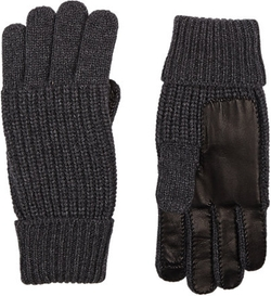 Barneys New York - Leather-Trim Knit Gloves