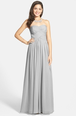 JS Boutique - Strapless Ruched Chiffon Gown