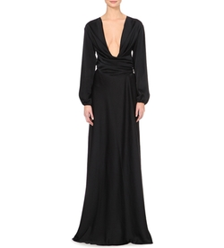 Victoria Beckham - Plunge-Neck Satin Gown
