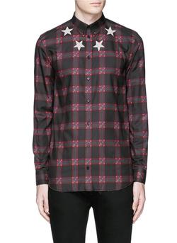 Givenchy  - Star Print Tartan Plaid Shirt