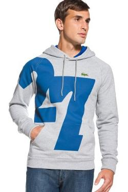 Lacoste  - Pullover Hoodie with Large 27 Print at Chest