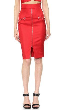 Nicholas  - Bonded Silk Zip Pencil Skirt