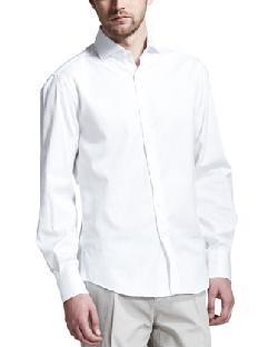 Brunello Cucinelli  - Two-Button Peak-Lapel Tuxedo & Button-Down Slim-Spread Collar Shirt