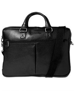 Perry Ellis - Zip-Top Leather Briefcase Bag