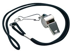 Markwort - Nickel Plated Whistle and Black Lanyard Combo