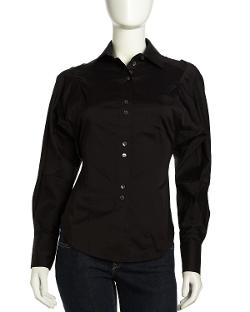 L.A.M.B.  - Dolman-Sleeve Button-Down Blouse, Black
