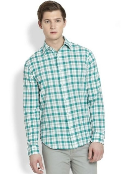 Saks Fifth Avenue Collection  - Modern-Fit Seersucker Plaid Sportshirt