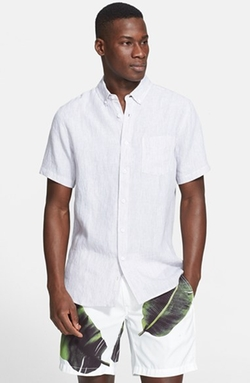 ONIA  -  Trim Fit Stripe Short Sleeve Linen Sport Shirt