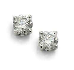 Saks Fifth Avenue  - Brilliant Diamond & 18K White Gold Stud Earrings