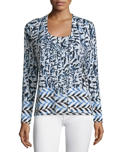 Neiman Marcus Cashmere Collection - Arrow Printed Button-Front Cardigan