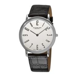 Stührlin  - White Dial Alligator-Look Black Leather Strap Watch