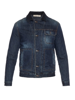 Bottega Veneta  - Suede Collar Denim Jacket