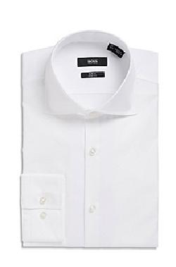 Boss - Slim Fit, Spread Collar Two-Ply Italian Cotton French Cuff Tuxedo Shirt