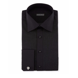 Stefano Ricci - Metallic-Pleated Tuxedo Shirt