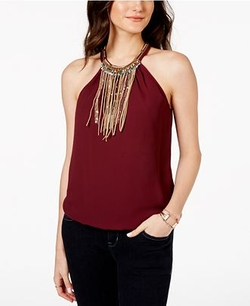 Xoxo - Faux-Suede-Fringe Sleeveless Top