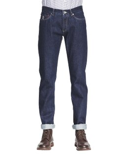 Brunello Cucinelli   - Five-Pocket Selvedge Denim Jeans
