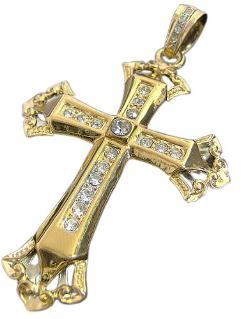 Bling Bling Online -  Iced Out Gold Plated Cross & Hiphop Bling Chain