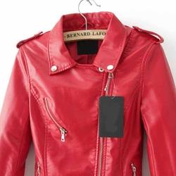 Romwe - Lapel Epaulet Crop PU Red Jacket