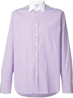 Etro  - Striped Shirt with Contrasting Collar