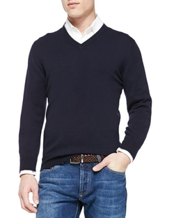 Brunello Cucinelli - Cashmere V-Neck Pullover Sweater