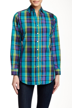 Foxcroft  - Shaped Fit Plaid Tunic Shirt