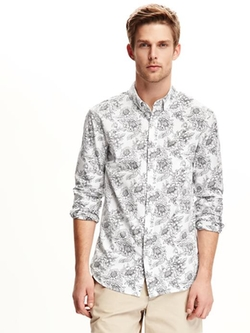 Old Navy - Floral-Print Slim-Fit Shirt