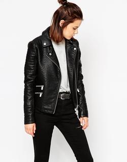 Asos - Textured Biker Jacket With Zip Detail