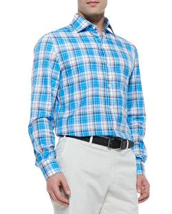 Isaia   - Plaid Button-Down Shirt