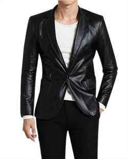Give Me Five - Faux Leather One Button Long Sleeve Suit Blazer