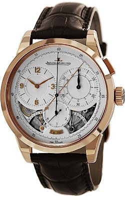 Jaeger LeCoultre  - Duometre Silver Dial 18kt Rose Gold Brown Leather Mens Watch