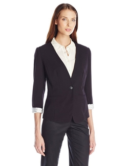 Kensie - Stretch Crepe Collarless Blazer