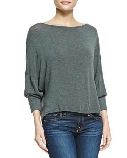 Alice + Olivia - Long-Sleeve Top with Leather Back Strap