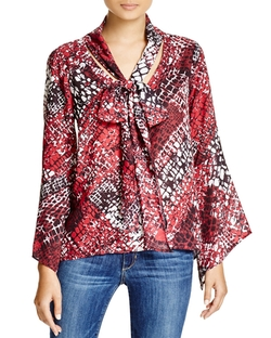 Status By Chenault - Abstract Print Bow Blouse