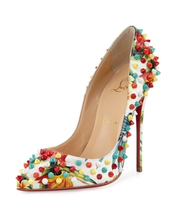 Christian Louboutin  - Follies Spiked Floral Red Sole Pump